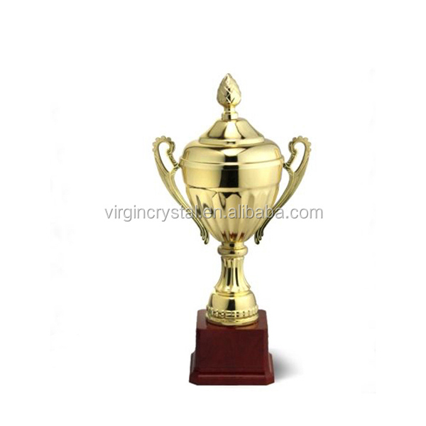 Lid Cover Design Metal Gold Trophy Cup With Red Base For Sports Prize