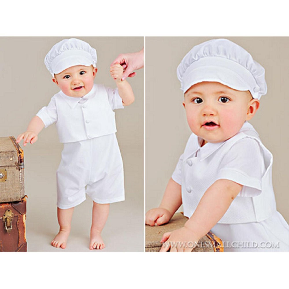 2015 hot sale baby boy christening set, infant outfit baptism suit