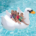 White New Summer Lake Swimming Lounge Pool Kid Giant Rideable Swan Inflatable Float Toy Raft Good