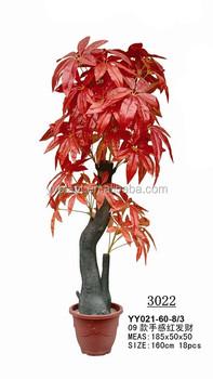 Red Artificial Small Bonsai Plants Plastic Indoor Pachira Money Tree Plant 3022