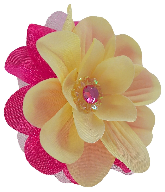 Buy Jojo Silk Flower Hair Clip Yellow Hot Pink In Cheap Price On