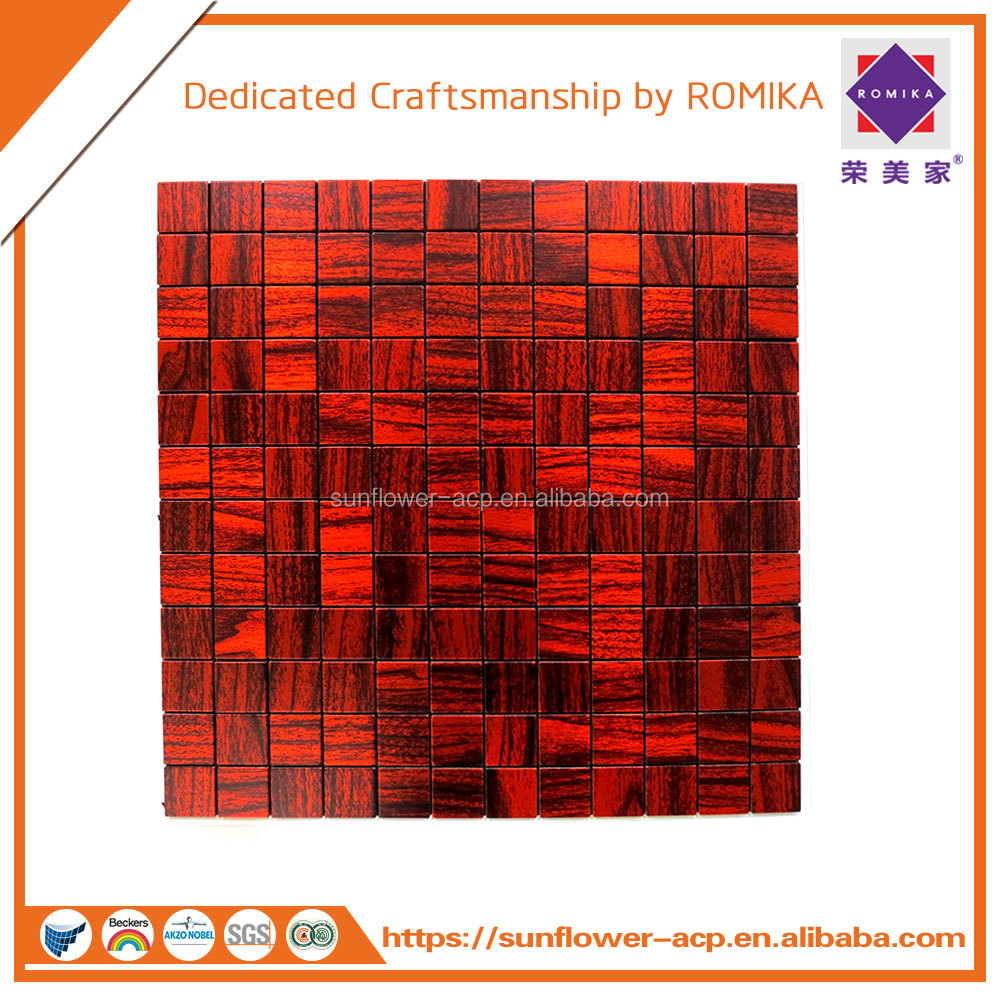 Red MOSAIC pattern Aluminum Composite Panel/ACP/ACM/Aluminum plastic composite for wall cladding and exterior decoration