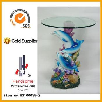 Resin Animal Dolphin Sculpture Big Size Round Glass Table For Coffee