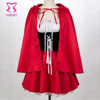 Corzzet Little Red Riding Hood with Extended Body Length Halloween Cosplay Woman Grimm's Fairy Tales' Sweet Red Cap Girl Costume