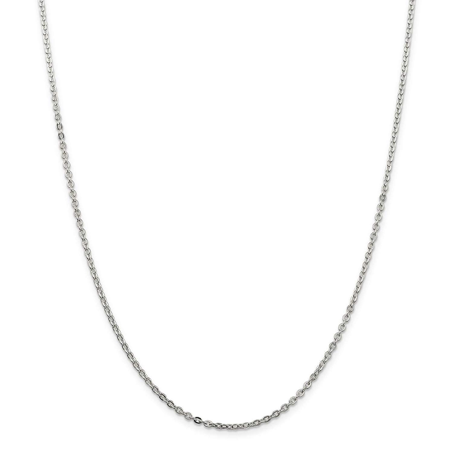 56a3a03db5c Get Quotations · 925 Sterling Silver 2mm Flat Cable Link Chain Necklace 16