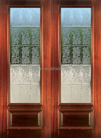 Decorative Glass Front Double Doors In Wood DJ-S9155M-4