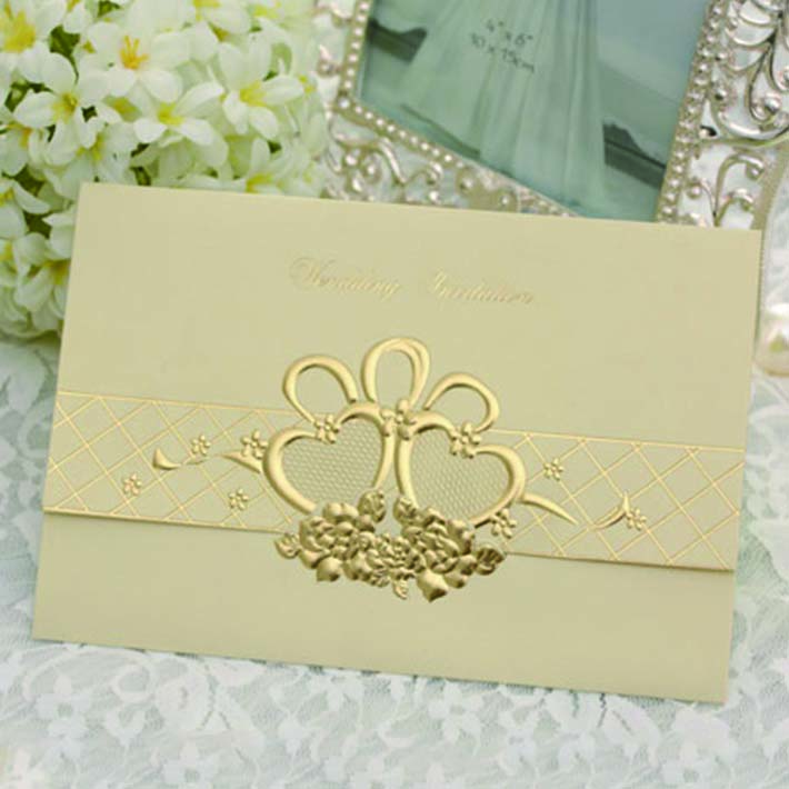 Elegant Golden Wedding Invitation Card Brand Factory on Alibaba