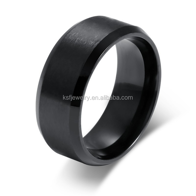 Best Sell Man Black Titanium Ring Without Stone Wholesale 2015