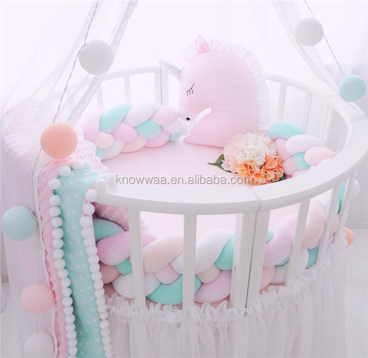Baby Bedroom Decoration Plush Unicorn Rainbow Widen Long Knotted Baby  Braided Crib Cot Bumpers Knot Pillow - Buy Baby Knot Pillow,Baby Crib  Bumpers ...