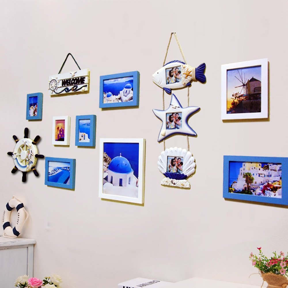 Lamowda 6/8 multi-frame photo wall solid wood frame modern minimalist decorative painting Mediterranean style wall Weifang simple (Color : Blue and white, Size : 6 box)
