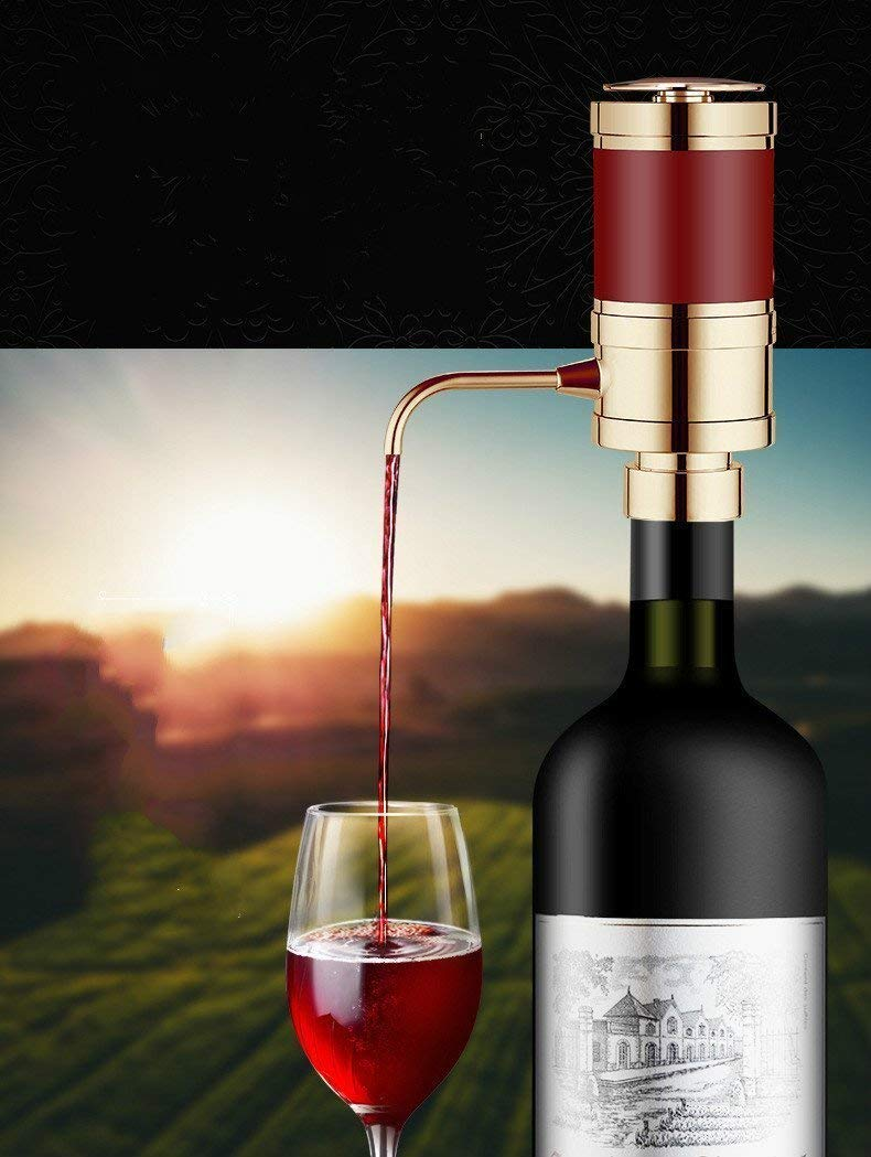 V-EWIGE Electric Wine Aerator Dispenser Pump - Portable and Automatic Bottle Breather Tap Machine - Air Decanter Diffuser System Convenient Spout Gold