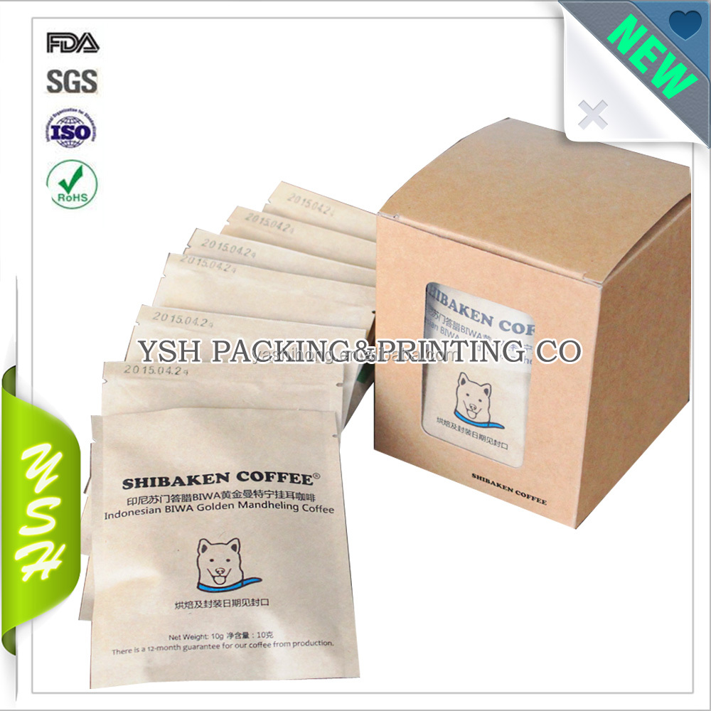 Custom Color Printing Zip Top Small Roasted Coffee Beans Bag Heat Seal Laminated 250g Box