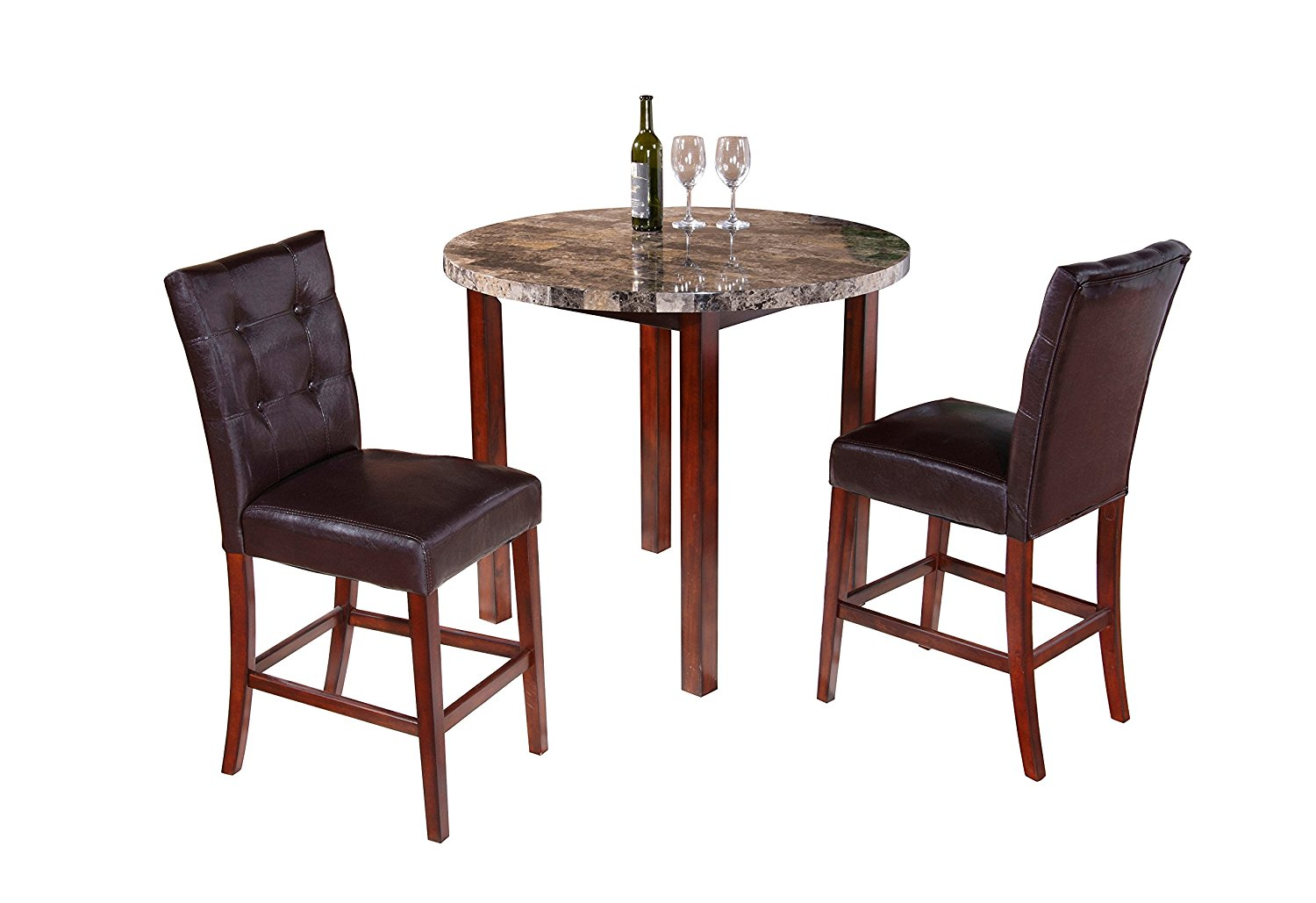 Get Quotations · Pilaster Designs   Faux Marble Round Dining Room Kitchen Pub  Table U0026 2 Chairs
