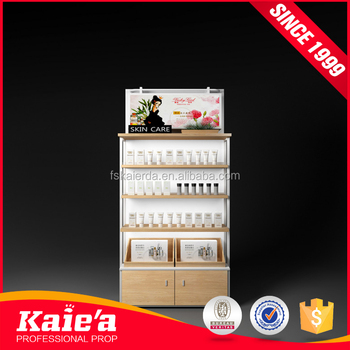 Modern cosmetic shop counter display design showcase for shop