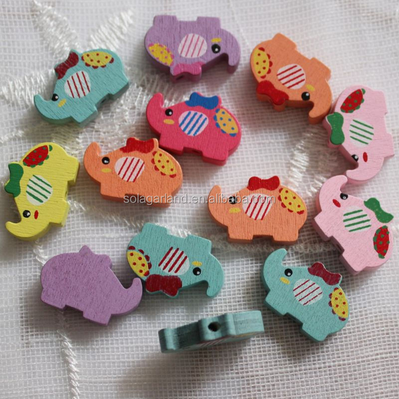 China Factory 15*23mm Elephant Animal Shaped Wood Beads Print Wooden Craft Children Baby Accessories DIY