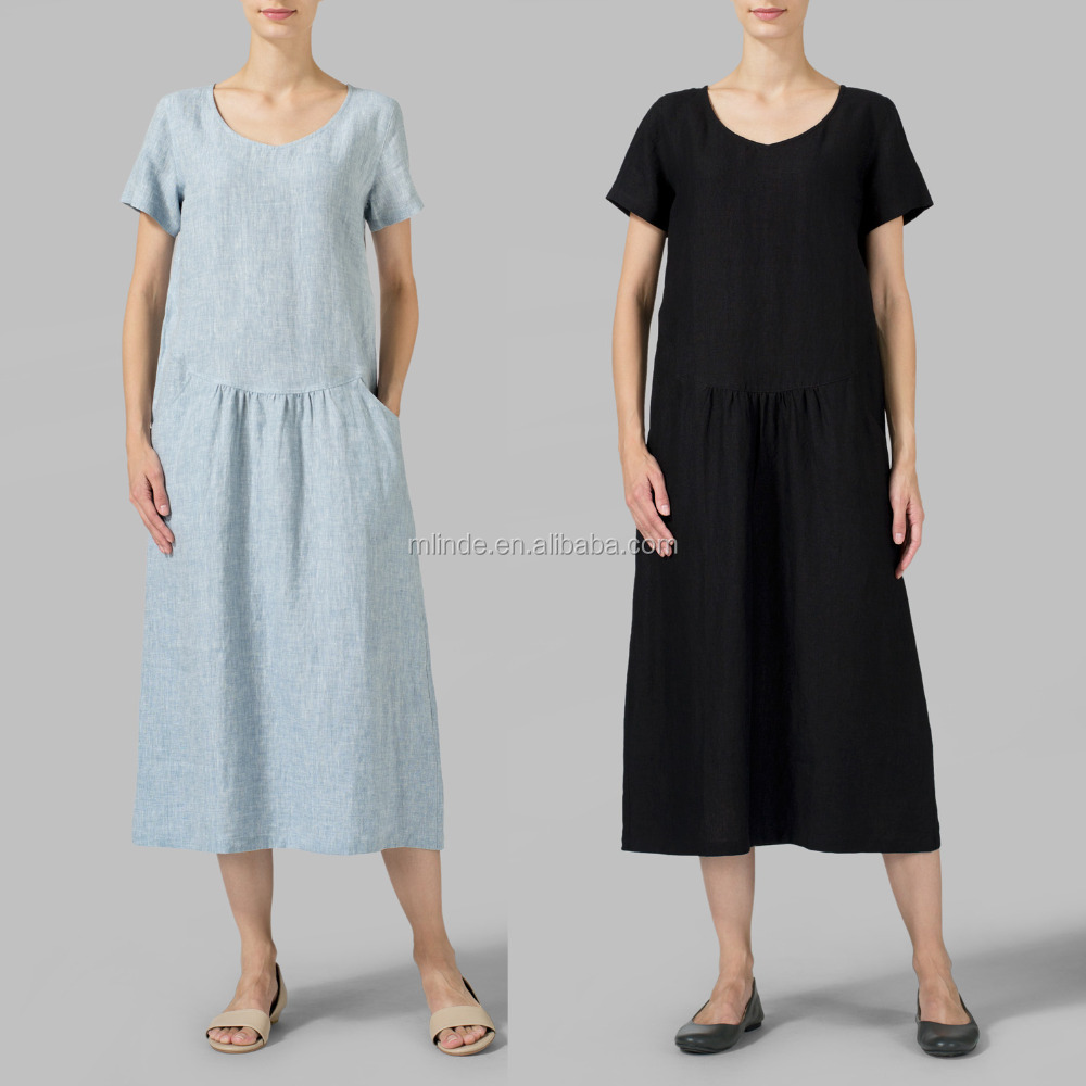 32c72621d88 Linen Swing Short Sleeve Long Maxi Dress Loose Shift Ladies Classic Casual  Dresses with Hand Pockets Plain White Simple Dresses