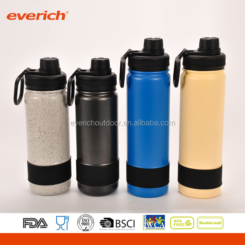 Everich Double Wall Stainless Steel Powder Coated Sports Easy Carry Water Bottle