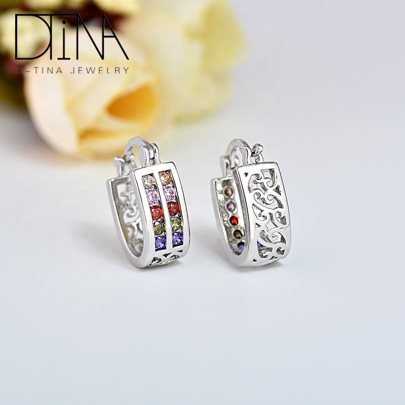 DTINA Dubai Fashion Earrings Plated White Gold Colored Crystal Zircon Woman Earrings, Platinum