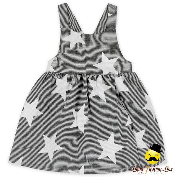 White Stars Printed Grey Straps Back Bow Baby 1 Year Old Party Dress Baby Girl Summer Dress