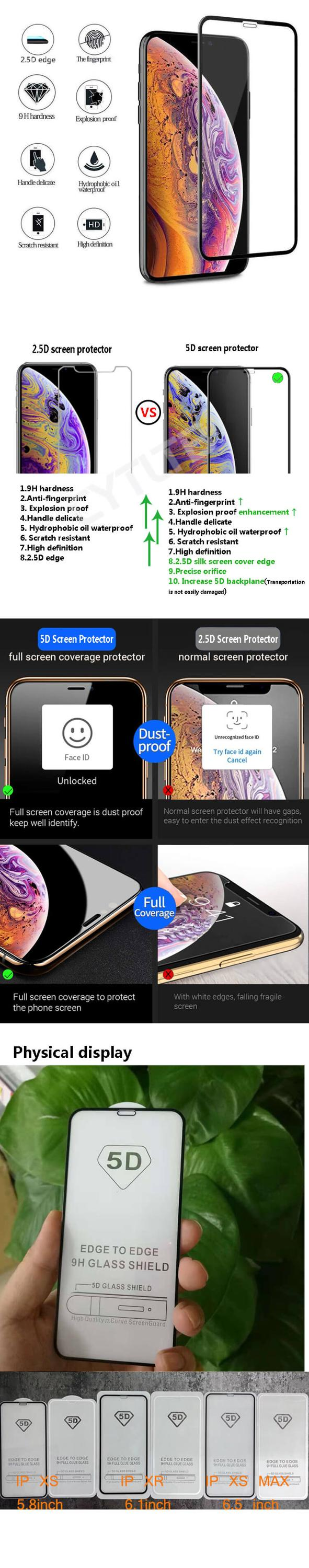 Silk Print Screen Full Caver 5D 9H Flexibility Mobile Phone Tempered Glass Screen Protector For Iphone XS Max Xs Xr X