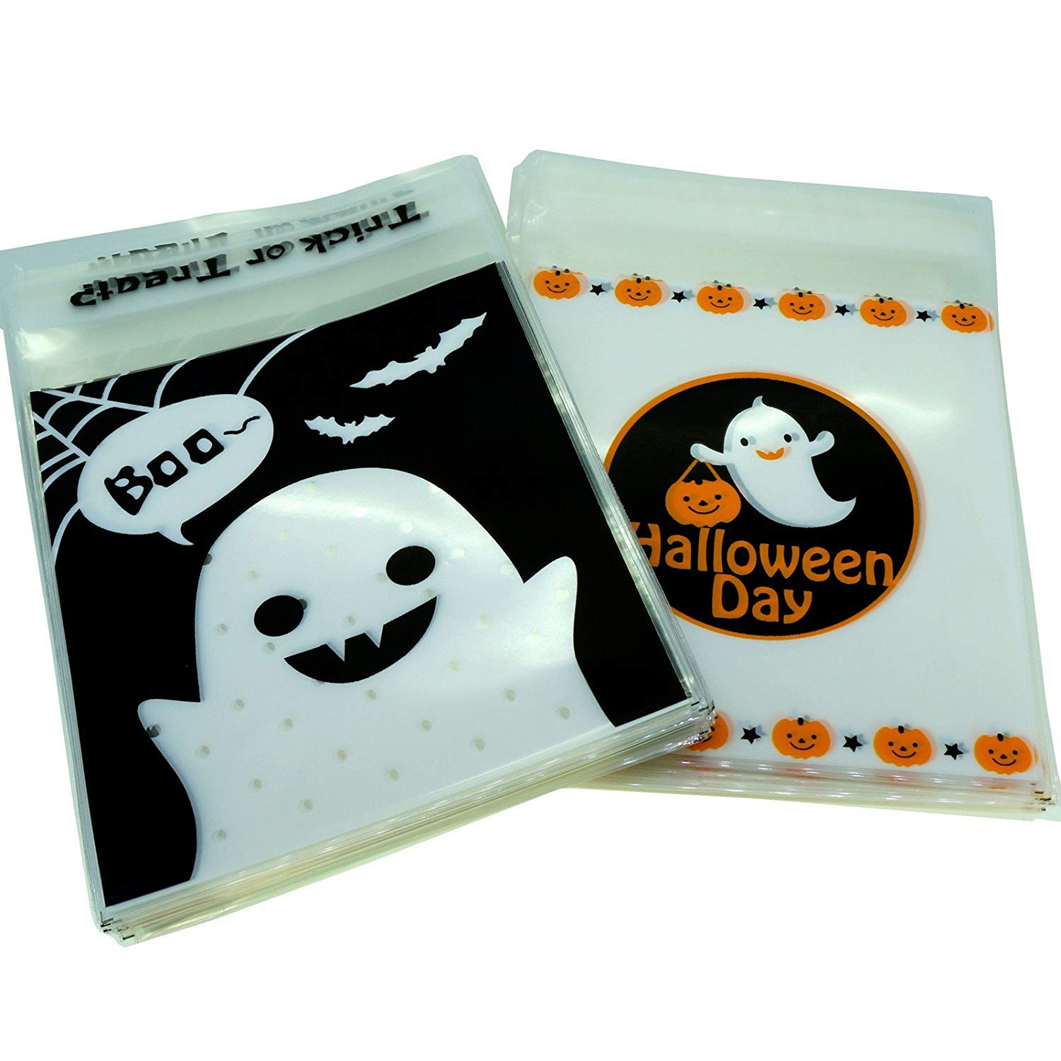 Halloween Treat Bags for Candy Cookie Chocolate Gift Wrapping Packaging, Pack of 95, 10x10cm, 2 Designs Mix