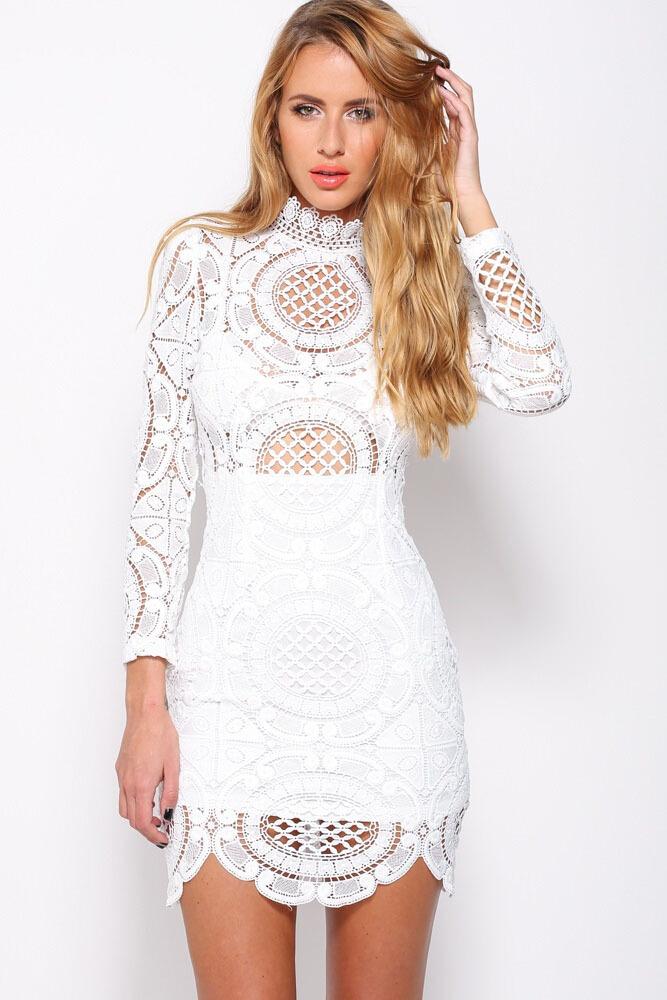 40fb198c84 Turmec » high neck lace long sleeve dress