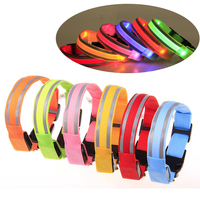 Eco friendly Reflective Adjustable Night Safety Flashing Led Dog Collar Usb Rechargeable