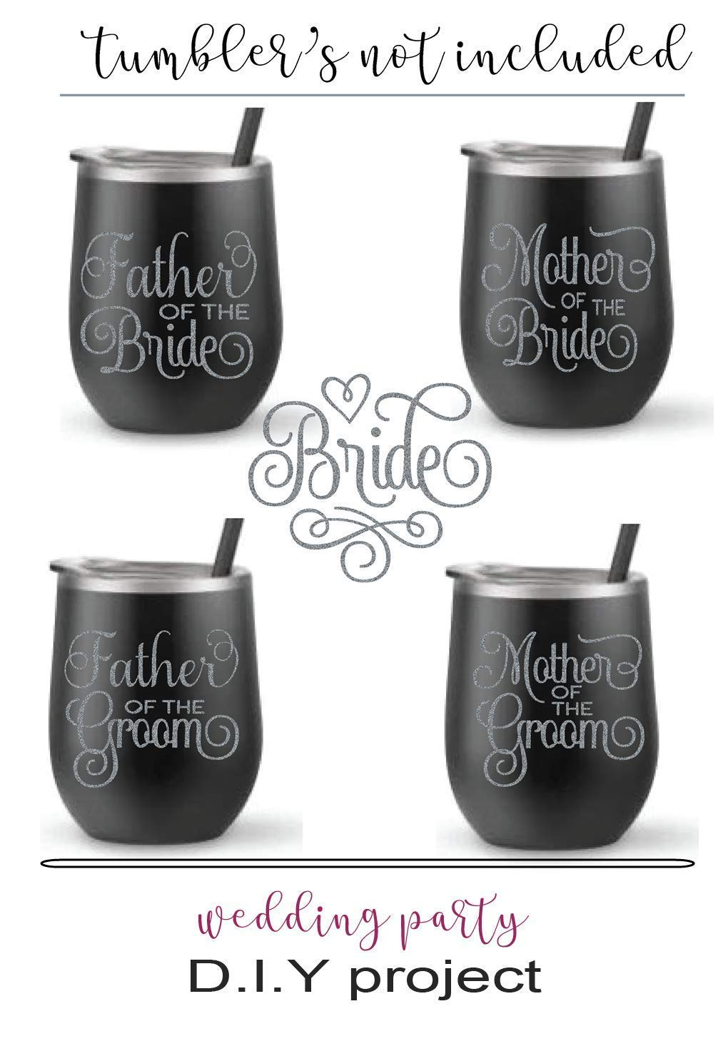 "Wedding Set of (4) FOUR Vinyl Graphic Decal Stickers, 3""W x 2.5""H each - (1) Mother Of The Bride, (1) Mother Of The Groom, (1) Father Of The Bride, (1) Father Of The Groom"