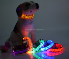 New Pet Collar Toys Leopard LED Light Dot Dot Printing Flash dogs supplies Colorful Dog Collar