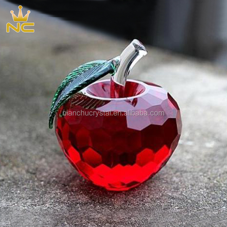 Decorative Faceted Clear Red Purple Glass Crystal Apple For Wedding Gifts