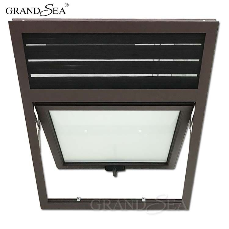 Push out aluminum frame top hung triple glass window