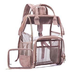 Large Clear Backpack Transparent PVC Multi-Pockets School Backpacks Outdoor Backpack Fit 15.6 Inch  Safety Travel Rucksack bag