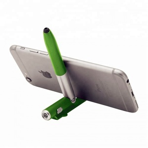 2018 new multi function twist action foldable phone stand led ball pen and stylus pen with flashlight
