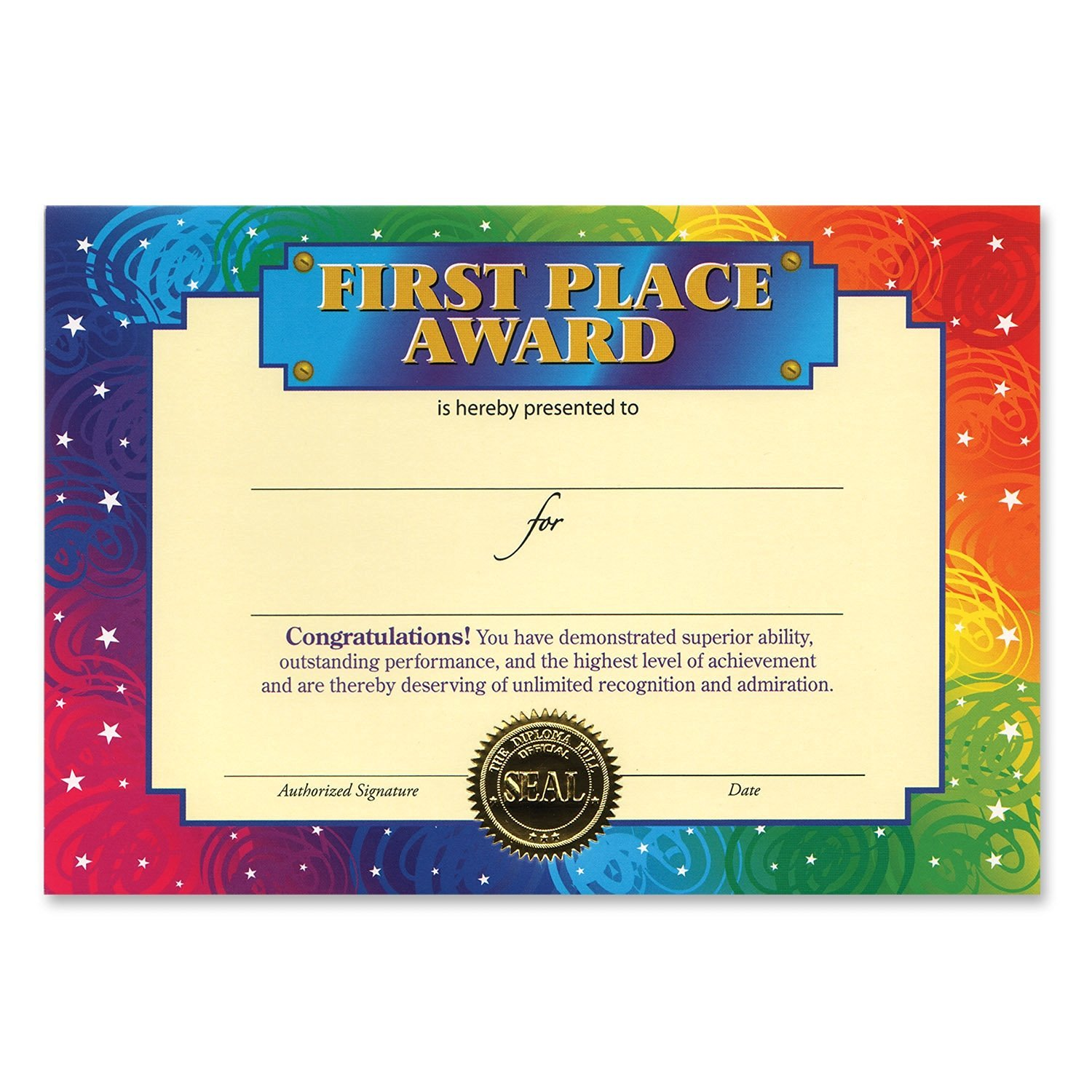 get quotations beistle cg077 first place award certificates 5 by 7 inch 6 pack