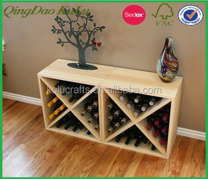 eco friendly X design wooden wine storage cube,decorative wooden storage cube