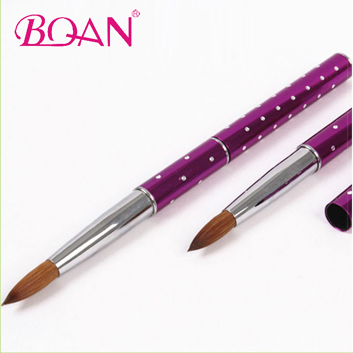 2014 BQAN Newest Beauty 18# Nail Brush Pure Kolinsky Sable Hair Nail Acrylic Brush, Fuchsia;also can be made to blue;green;pink etc.