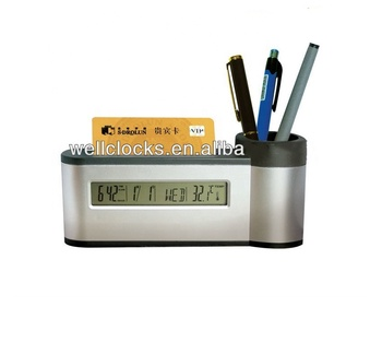 Fashion Classic Pen Holder With Cardcase Lcd Multifunctional Desk Clock