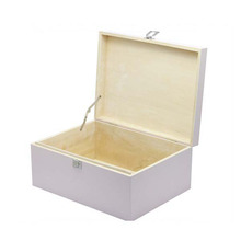 White finished plain wooden toy storage box for kids