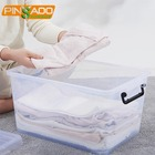 For Clothing 70L Clear Transparent Large Plastic Clothes Storage Containers Tote Bin Box With Lid