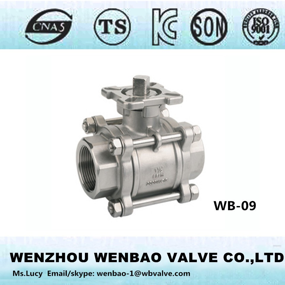WB-09 3pc ball valve with ISO top flange /investment cast body ball valve /stainless steel CF8 ball valve