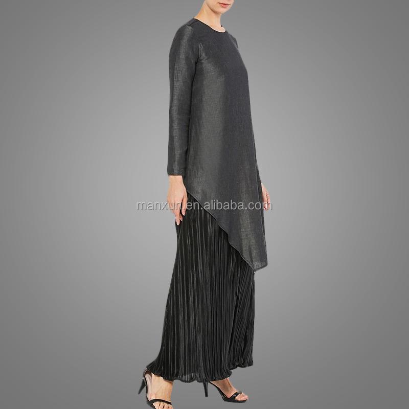 Muslim Women Black Maxi Drape Skirt Two Pieces Baju Kurung