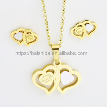 unique stainless steel brand jewelry set with heart logo
