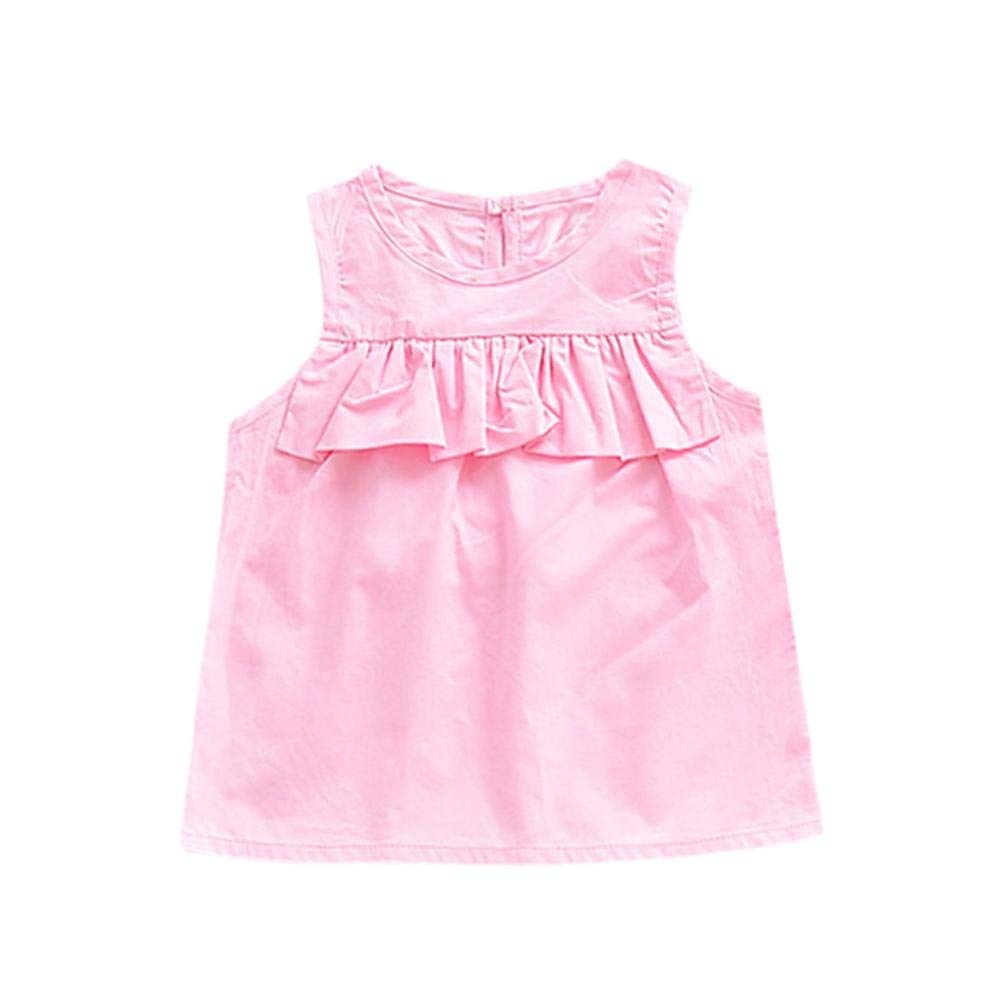 7c56e1891 Get Quotations · Baby Girls Sun Dresses 0-36 Months Pink Sleeveless Ruffled  Vest Dress Jumper Skirts