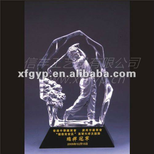 irregular Crystal golf sport award trophy cup, golf man