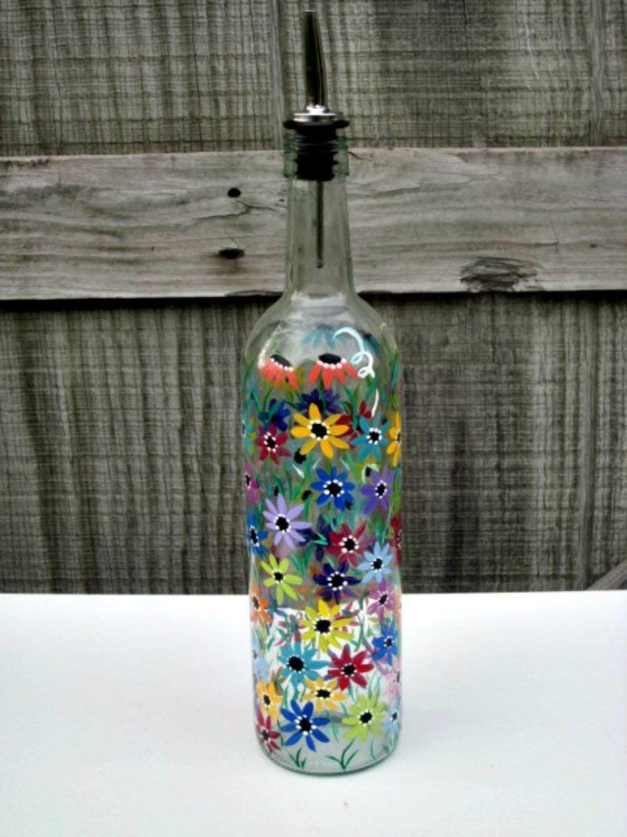 Hand Painted Dish Soap Dispenser Clear Wine Bottle Colorful Flowers Oil And Vinegar