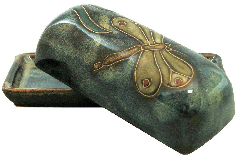 Mara Stoneware Collectible Butter Dish - Mexican Pottery - Blue with Dragonfly Design