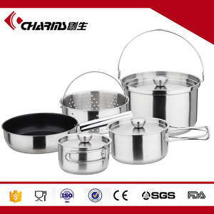 Wholesale Induction Saucepan And Pans Indian Stainless Steel Kitchenware Stocklot Cook Sets Hot Pot Pan Set With Two Handle