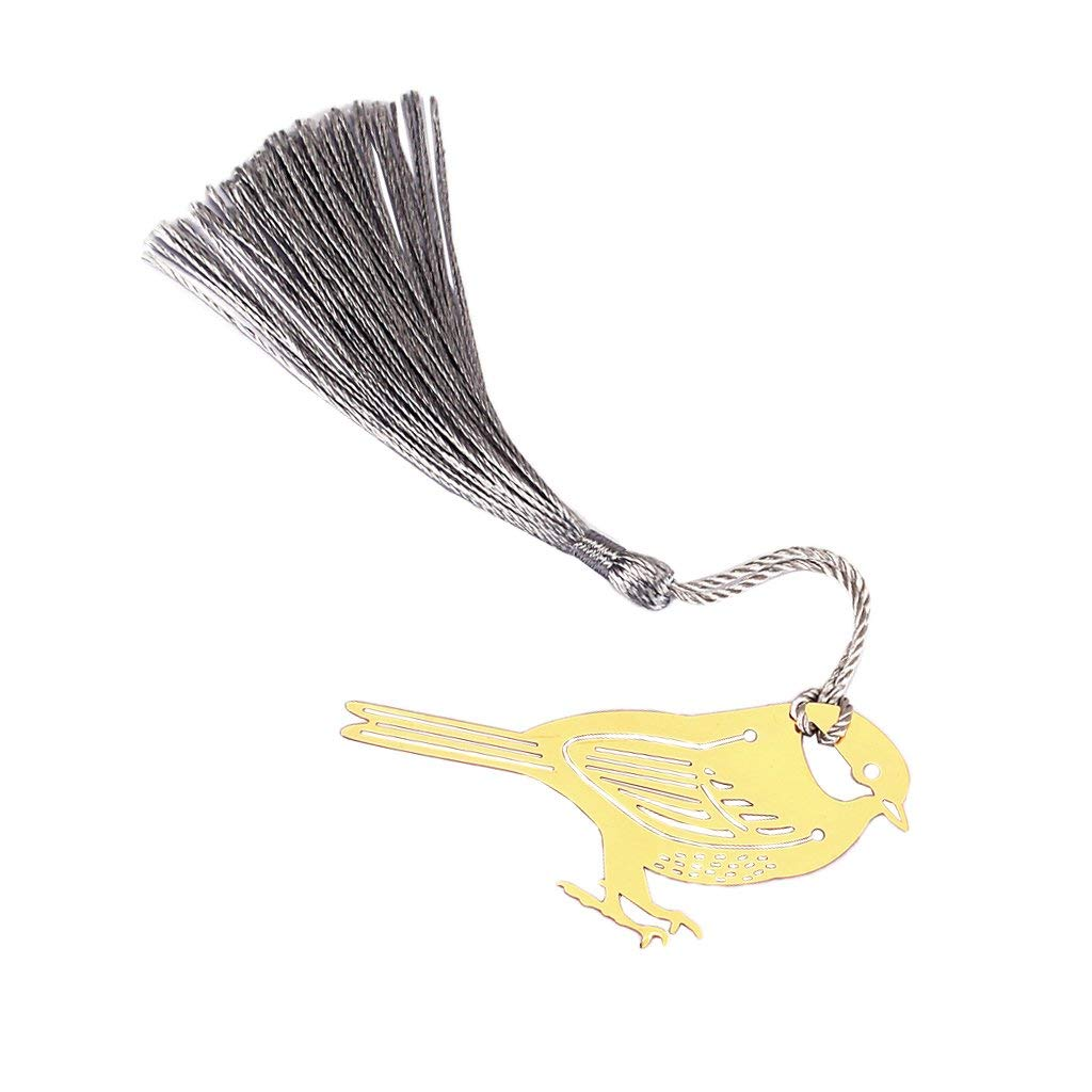 Homyl Music Label Cute Bird Shape Copper Cardstock with a Silky Tassel Stationery Gift for Readers 1.26x2.76x0.01inch