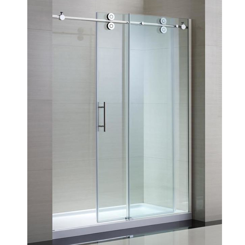 Double Wheels Bathroom Sliding Glass Door System Frameless Shower