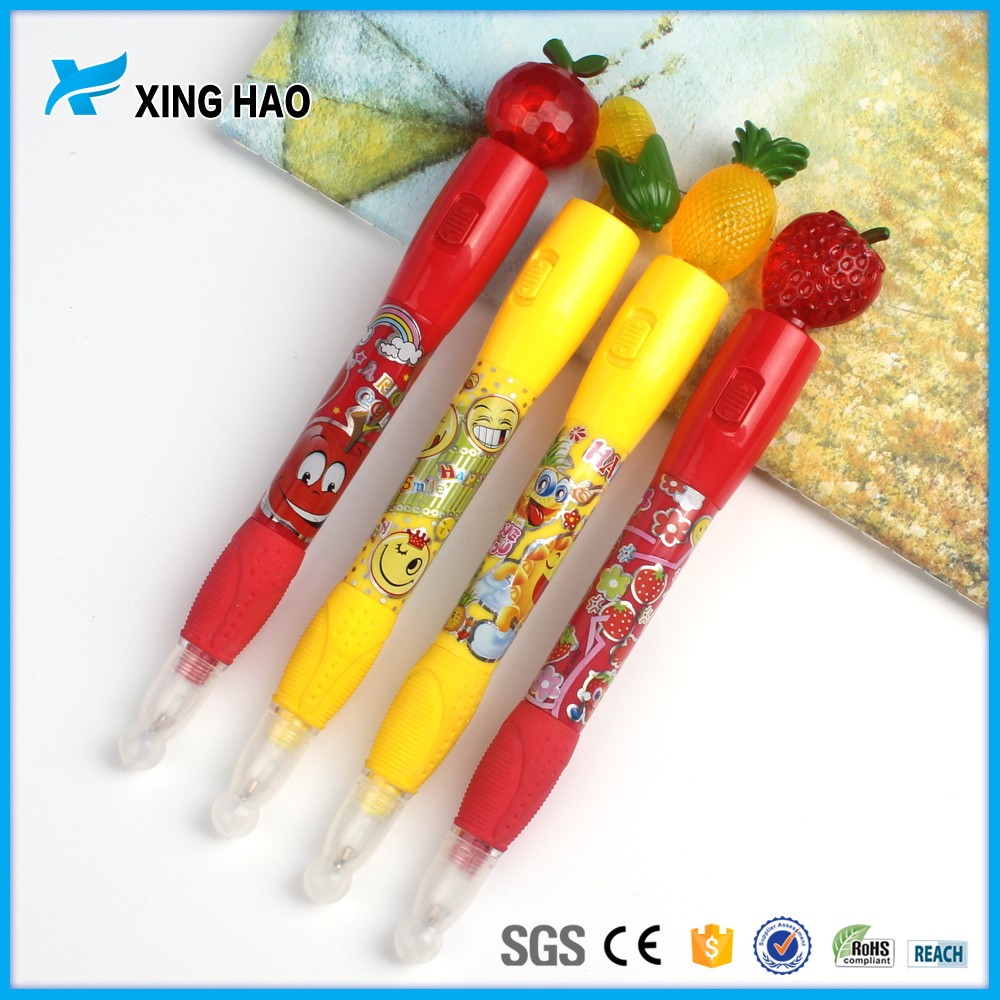Promotional cute ball point pen creative cartoon fruit plastic pen with light gift pen for kids